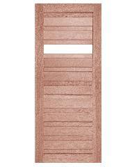BEST ประตูไม้สยาแดง เซาะร่องทำกระจกใส 1 ช่อง ขนาด 90x195cm. GS-53