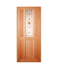Masterdoors ประตูกระจกไม้สยาแดง ขนาด  90x200 cm. SS01/2 ธรรมชาติ