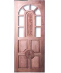 MAZTERDOOR  ประตูไม้สยาแดง ลูกฟักแกะลาย ทำช่องกระจก90x200ซม.  G944