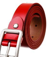 USUPSO เข็มขัดผู้หญิงหัวเข็มขัดเรียบ - สีแดง
