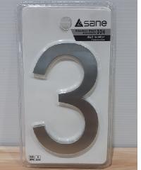 Sane ตัวเลขสเตนเลสแบบเรียบ 3 SS-DN03